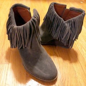 Lucky brand wedge booties with fringe